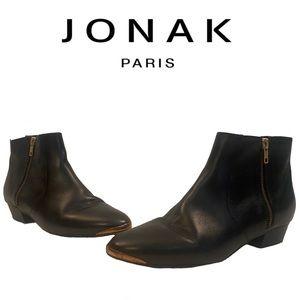 JONAK PARIS black leather ankle boots